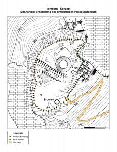 """(Kartengrundlage: """"Die Tomburg. Rheinbach-Wormersdorf, Rhein-Sieg-Kreis – Gesamtplan –"""" (Ausschnitt) Topographische Aufnahme: K. Grewe 1968. Digitalisierung, Erhebung und Kartographie: Andreas Herrmann, 16.07.2015)"""